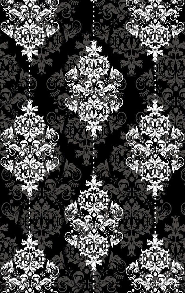 Blk wht Phone wallpaper images, Damask wallpaper, Black