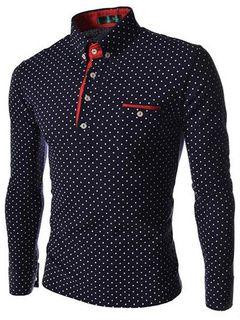 Lunares moda camisas de manga larga para hombre Polo con bolsillos