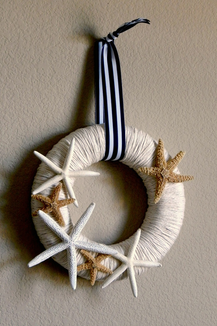 beachy wreath-would be cute wrapped with nautical rope too.