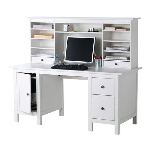 Hemnes desk with add on hutch unit ikea adjustable middle for Bureau blanc ikea