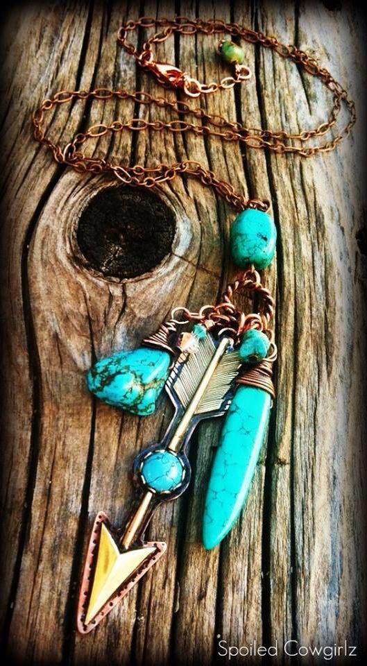 Long Copper & Brass Arrow Charm Necklace by SpoiledCowgirlzWJ #bohemian ☮k☮ #boho