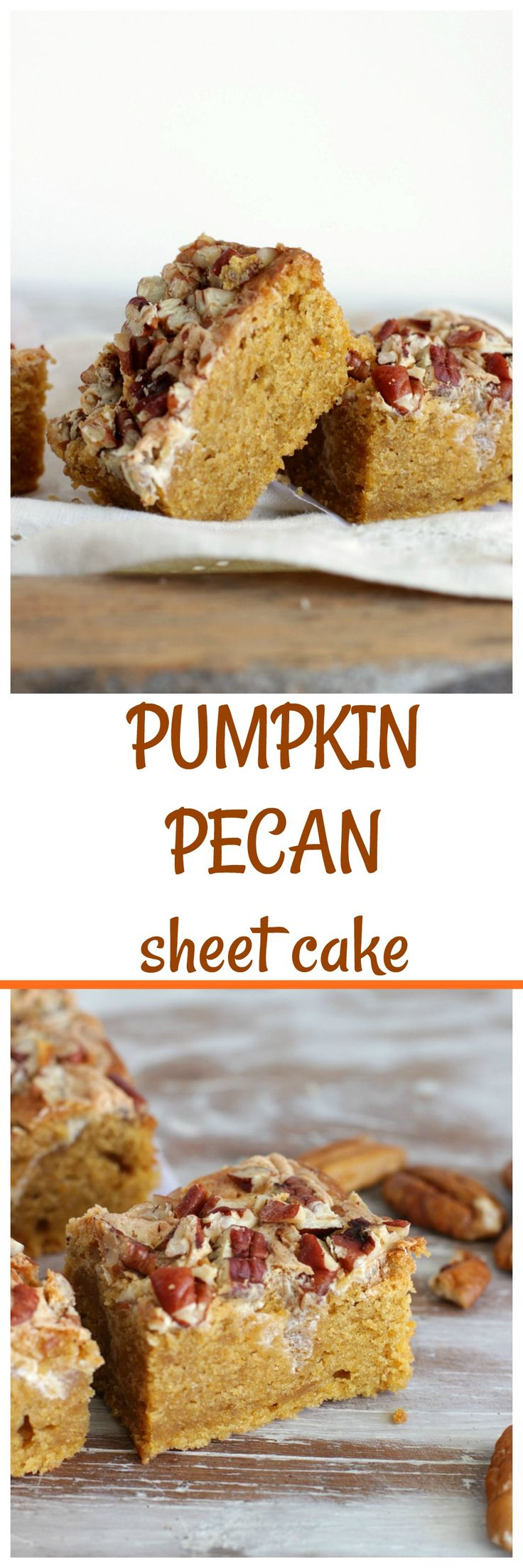 PUMPKIN PECAN SHEET CAKE, moist, sweet, easy to make and with that unmistakable spicy pumpkin flavor. A favorite around here.