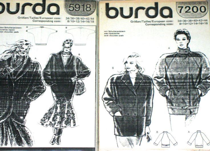 2 vintage Burda sewing patterns 1980s jackets uncut unused by sweetalicelovesyou on Etsy