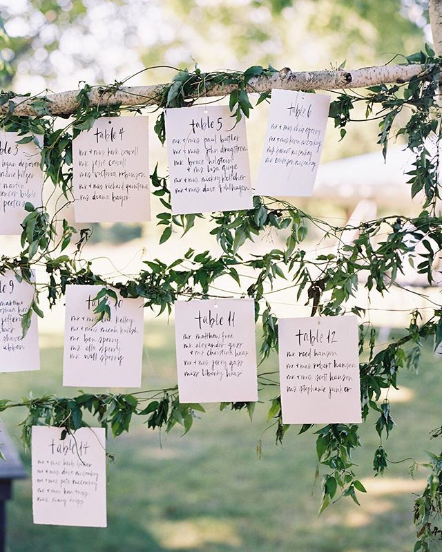 Throwing a casual affair? These simple, hanging escort cards are perfect for the occassion! ❤️ #theknot #theknotweddings : @erickelley I Escort Cards: @script_merchant