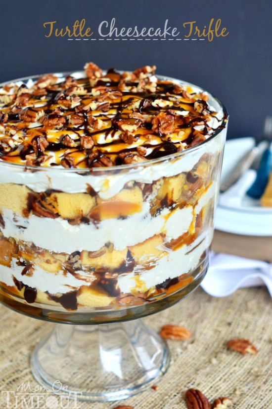 Turtle Cheesecake Trifle - Layers of caramel, chocolate, pecans, no bake cheesecake, and pound cake