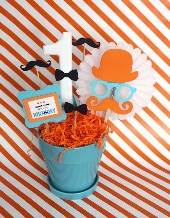 DIY Little Man Mustache Centerpiece..Don't forget orange and black personalized napkins to match! #itsallinthedetails www.napkinspersonalized.com