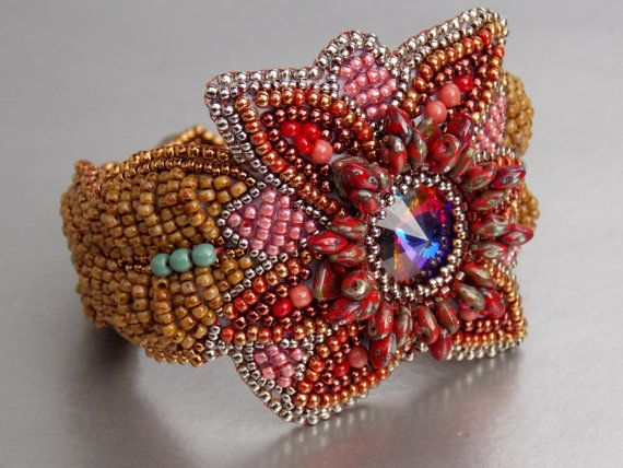 Check out Free Shipping , Bead Embroidery, Bracelet, Statement cuff, Seed bead bracelet, Red , Brown, Swarovski on vicus