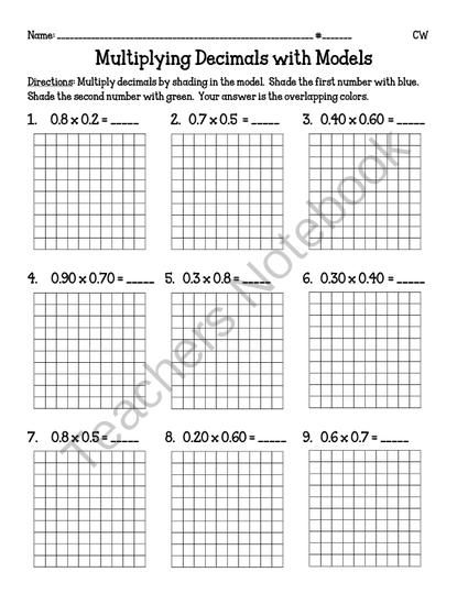 Multiplying Decimals with Models (5.NBT7) from Miss Cherritt's Shop on TeachersNotebook.com -  (5 pages)  - Teach your students how to multiply decimals with models! This is a great visually for your students to fully comprehend this concept of multiplying decimals in the tenths or hundredths place.