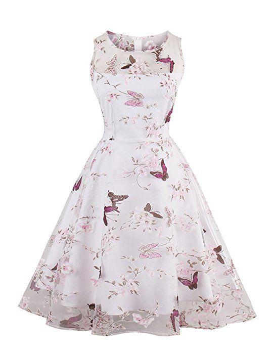 d80333afb37c VKStar® Retro Kleider Damen 50er 60er Cocktailkleid Tüll ärmellos  Abendkleid Brautjungfer Hochzeitskleid Rosa M