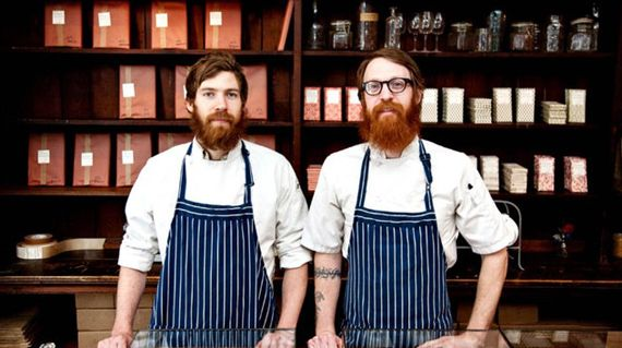 mast brothers chocolate... theses two just happen to be Greg's long lost triplet brothers..... and they make some yummy stuff!!