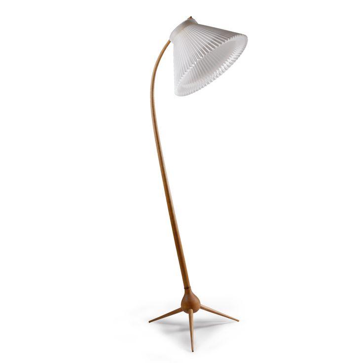 Rare floor lamp in teak by Severin Hansen, jr. New shade in folded paper by Le Klint, Denmark.