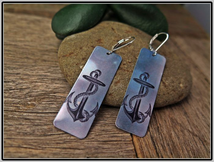 STORMY SEAS, ANCHOR GRAPHIC PRINT EARRINGS
