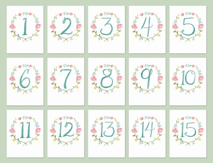 Estos números de mesa Floral acuarela son perfectos para su evento o boda de jardín.  Las tarjetas están impresas sobre cartulina resistente 120 lb y están disponibles en varios tamaños: • A2, 4.25 x 5.5 pulgadas • A7, 5 x 7 pulgadas • 4 x 6 pulgadas  Las tarjetas son doble cara y se imprimirá en la parte delantera y trasera a menos que se indique lo contrario.  Colores personalizados también están disponibles bajo petición.  Números de mesa enviar dentro de 3-5 días laborales a través de…