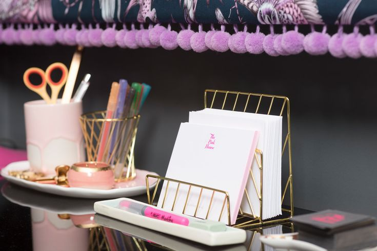 Desk styling with dark grey walls and pink patterned blind by The London Curtain Girls