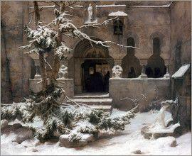 Carl Friedrich Lessing - Klosterhof im Schnee