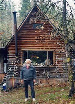 Igo at his cabin in Mosier Oregon