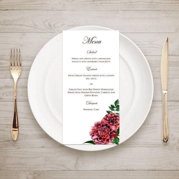 Digital Wedding Menu Printable Dahlias By CardsForWedding