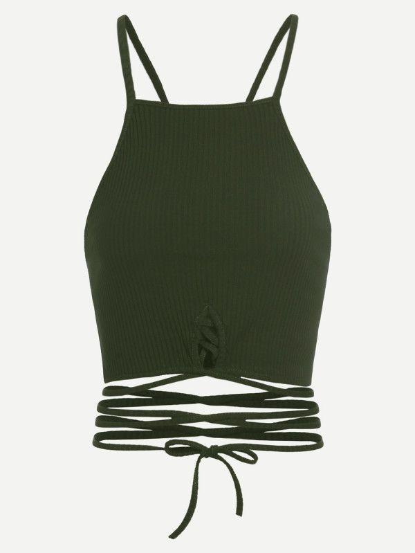 Shop Tie Hem Crop Cami Top online. SheIn offers Tie Hem Crop Cami Top & more to fit your fashionable needs.