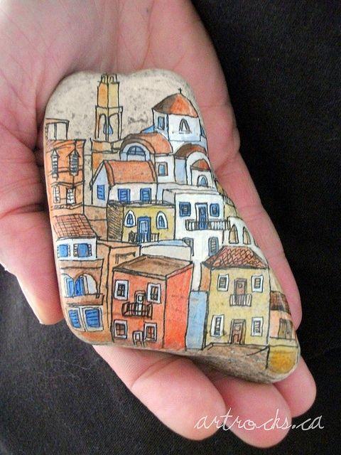 """Galet peint """"Greek Town"""" by Karen Fuhr"""