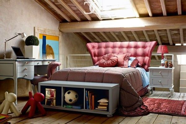 Детская комната на чердаке (в мансарде) (34 фото)