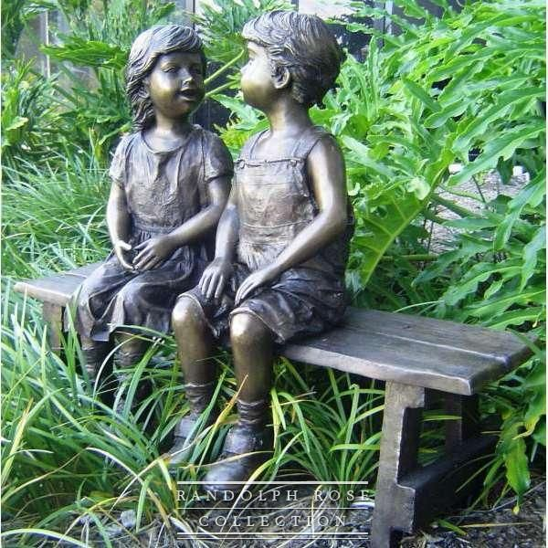 Captivating Companions Together On A Bench Statue   From The Randolph Rose Collection