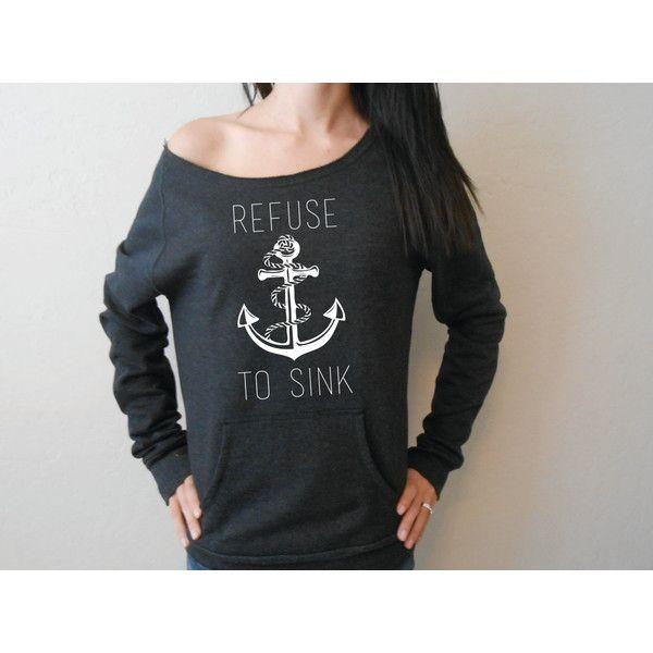 Refuse to Sink Slouchy Sweater Anchor Refuse to Sink Off the Shoulder... ($36) ❤ liked on Polyvore featuring tops, hoodies, sweatshirts, sweaters, sweatshirt, black, women's clothing, black sweatshirt, long hooded sweatshirt and long sleeve hoodie
