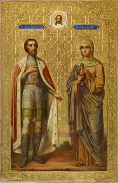 Икона святых Александра Невского и Марии Магдалины. Конец 19 века. Рыбинский музей-заповедник