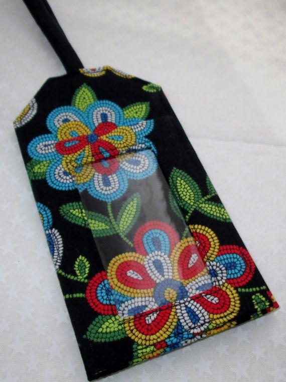 Luggage Tag Navajo beaded look Southwestern Fabric by AmericanPie