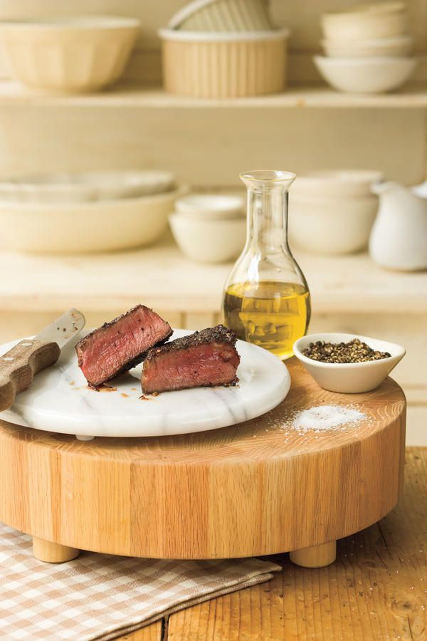 Pan-Seared Filet Mignon - Cooking in Your Cast Iron Skillet - Southernliving. Recipe: Pan-Seared Filet Mignon  Filet mignon cooks quickly with a little butter and olive oil in the skillet. Just add salt and pepper to seal the taste.