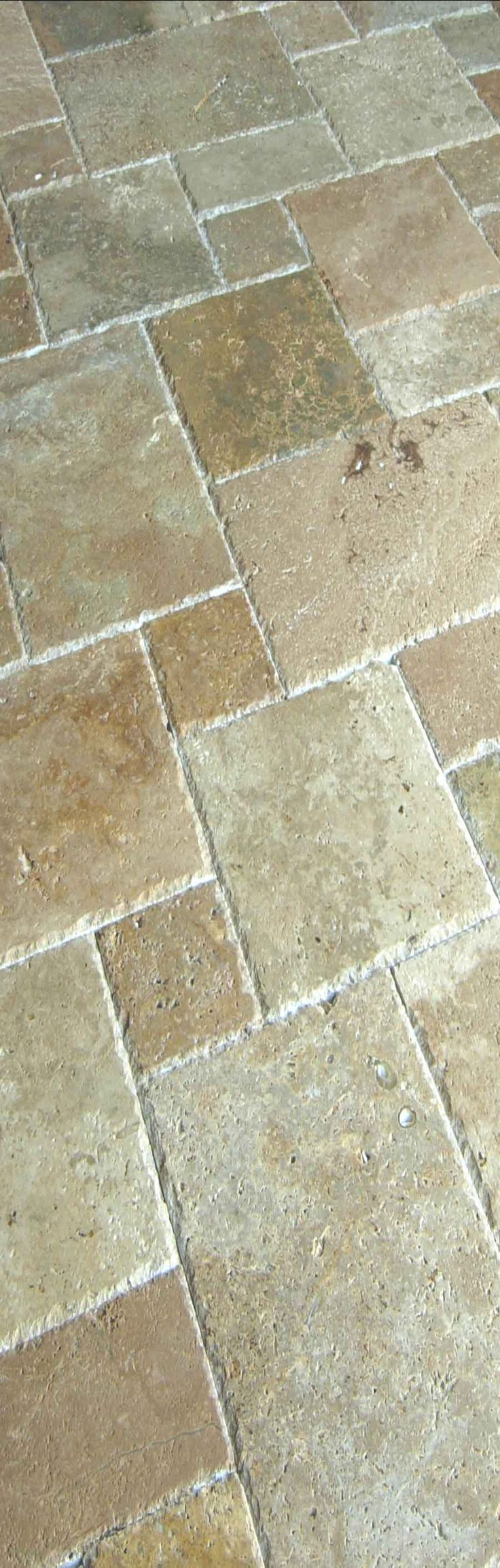 Travertine Floor--Love for the french provincial kitchen or a bathroom