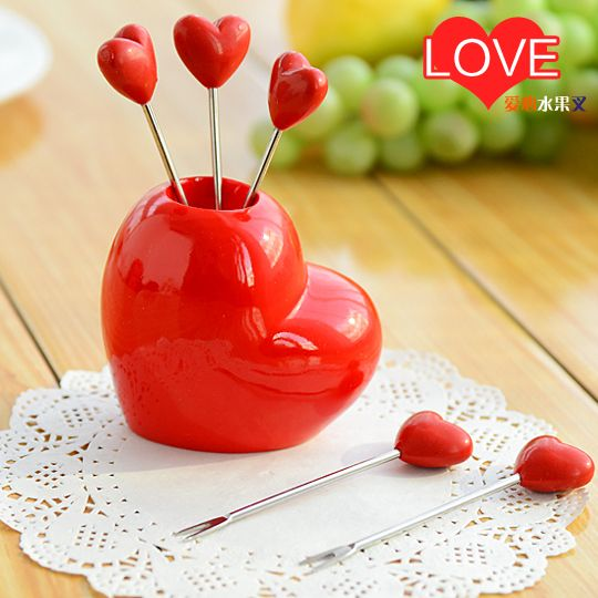 Strawberry fruit fork creative Korea stylish stainless steel lovely fruit food picks tools bento accessories