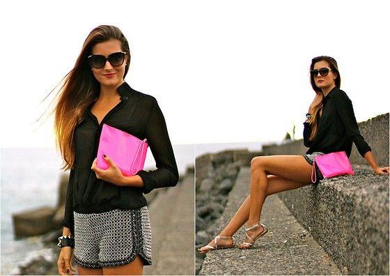 Dolce & Gabbana Sunnies, Zara Blouse, Zara Shorts
