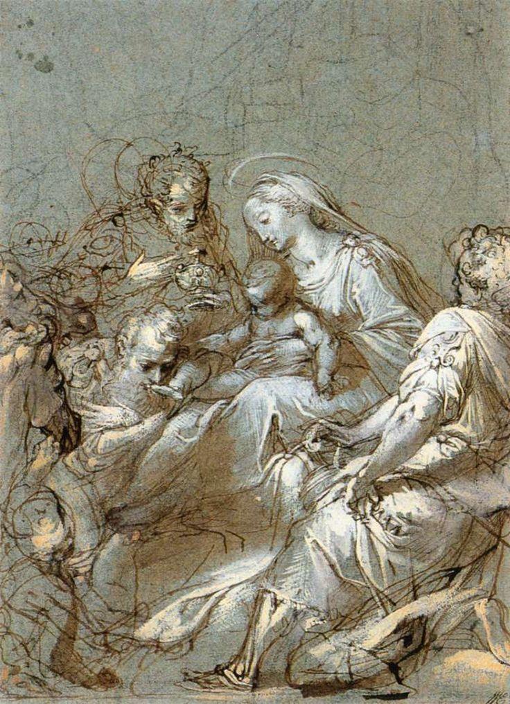 BAROCCI, Federico Fiori, Italian painter (b. 1526, Urbino, d. 1612, Urbino)  -  The Adoration of the Magi,  1561-63,  Black chalk, pen and brush on blue paper, 293 x 209 mm,  Rijksmuseum, Amsterdam.