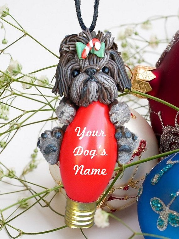 Shaded+Brown+Brindle+Shih+Tzu+Dog+Christmas+by+sallysbitsofclay,+$20.00