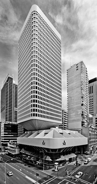The Masonic Centre, Sydney  Architects: Joseland GillingConnell Mott MacDonald (tower),   Date: 1974, tower 2004 Style: Late 20th-Century Brutalist