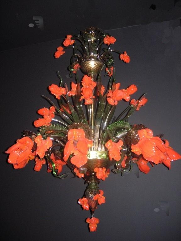 Acquatico Murano glass Orange flower chandelier