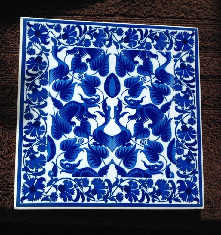 William De Morgan Victorian 'Happy Dragons' bordered accent tile.