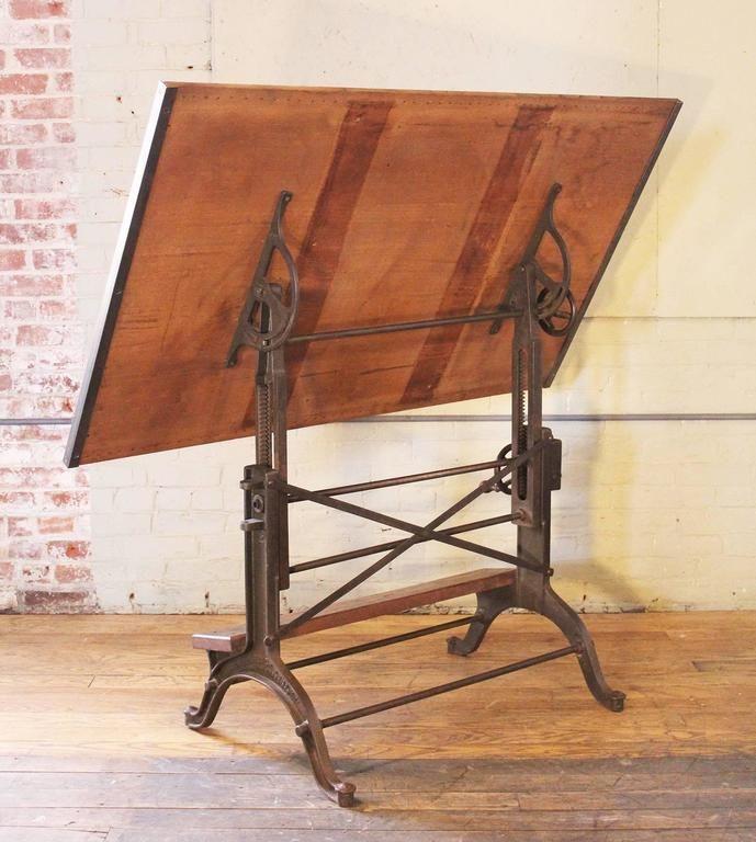 Drafting Table Vintage Industrial Cast Iron And Wood Frederick Post Adjustable Vintage Industrial Drafting Table Vintage Drafting Table