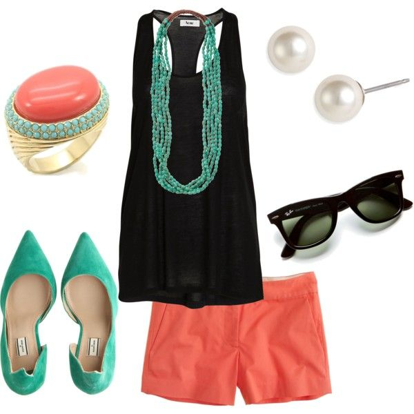 coral, aqua and black summer outfit