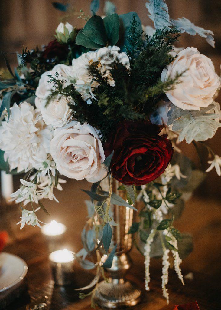 Get The Look Winter Wedding Silk Flower Bouquet Winter Wonderland Wedding Decorations Silk Flower Centerpieces Wedding Candle Wedding Centerpieces