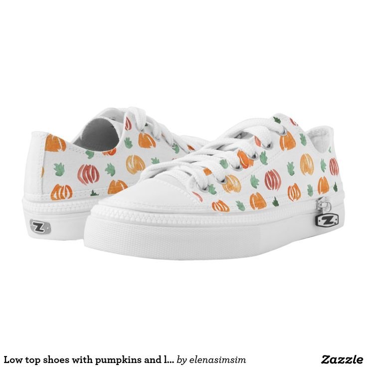 Low top shoes with pumpkins and leaves