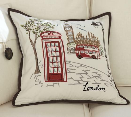 London city scene pillow from Pottery Barn