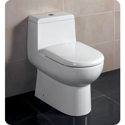 This is an example of a skirted one-piece toilet. This one is elongated however.
