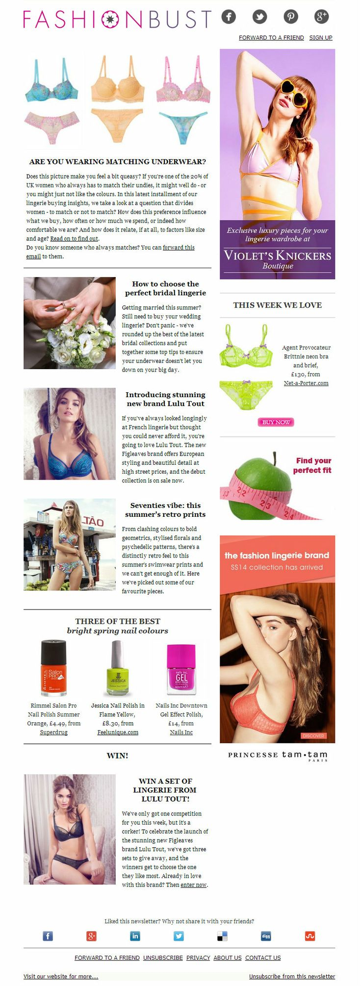 This week we take a look at an underwear question that divides women - to match or not to match? Plus, wedding season is just getting underway so we've got a round up of the latest bridal collections, some stunning retro print swimwear and the launch of new brand Lulu Tout - and your chance to win a set!