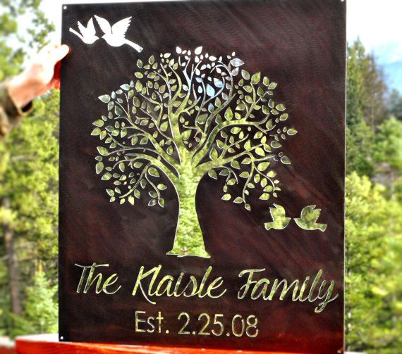 Family Tree Family Established Sign Family by GrizzlyCustomSteel