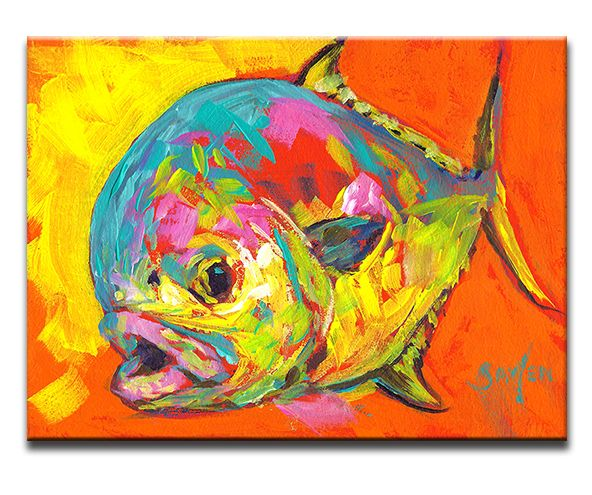 Fly Fishing Tile Art Quot Expressionist Permit Study Ii