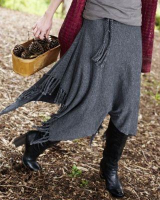 Fringed Sweater Skirt