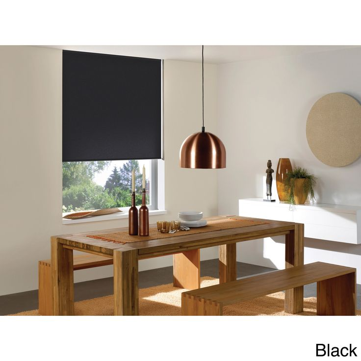 This four-ply blackout roller shade blocks 100-percent of light, providing total privacy. Made of a 12 gauge, flame retardant material that is fade and curl resistant, it's cordless spring lift mechanism makes it safe for both children and pets.: