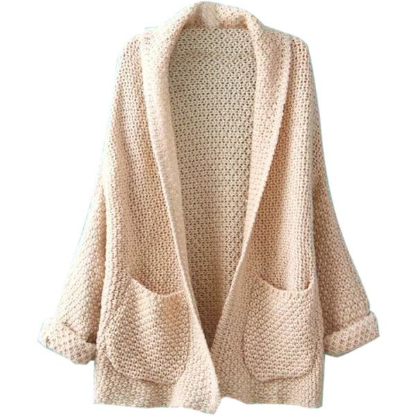 Beige Lapel Pocket Detail Open Front Long Sleeve Knit Cardigan (€23) ❤ liked on Polyvore featuring tops, cardigans, jackets, outerwear, sweaters, long sleeve tops, pocket cardigan, beige long sleeve top, lapel cardigan and long sleeve open front cardigan