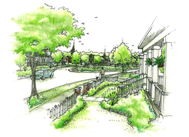 Perspective sketch by land8 member megan terry hand for Garden design sketches